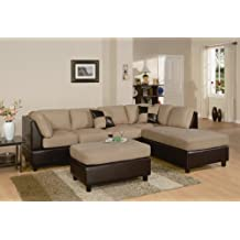Furniture2go F7619 Hazelnut Sectional Sofa Set   Reversible Left/Right  Chaise, 3 Seat