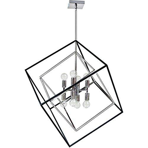 Pendants 8 Light Bulb Fixture With Polished Chrome And Matte Black