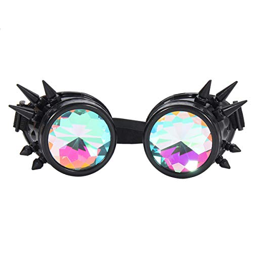 Unisex Retro Steampunk Goggles Spikey Costume Cosplay Gothic Punk Adults Motorcycle Glasses - Motorcycle Motorcycle Goggles - (Black) - 1 X Steampunk Goggles]()