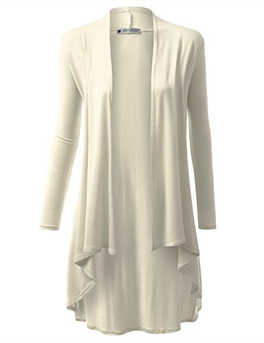 URBANCLEO Womens Basic Hi-Lo Open Front Long Cardigan Ivory, 2XL