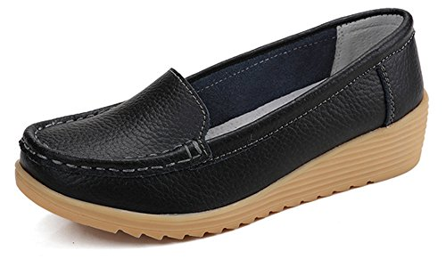 Aisun Women's Comfortable Boat Solid Color Wedge Heel Slip-on Loafers Black