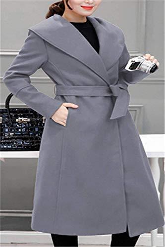 Coat Lunga Cintura Invernali Vintage Di Cappotti Giacca Tasche Vento Inclusa Manica Pulsante Grau Bavero Giubotto Donna Moda Laterali YaEn6x6