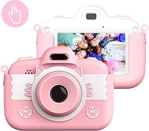 3-12歳の女の子のための子供のカメラのおもちゃ、子供の誕生日ギフト用保護袋16ギガバイトと子供のデジタルカメラの3インチのタッチスクリーン8.0MPカメラビデオゲーム(ピンク)