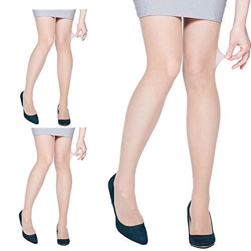 - 3 Pairs Womens Silky Ultra Sheer Pantyhose, 15 Denier, Invisible Effect Nude Hosiery, Durable Size: Small, Honey