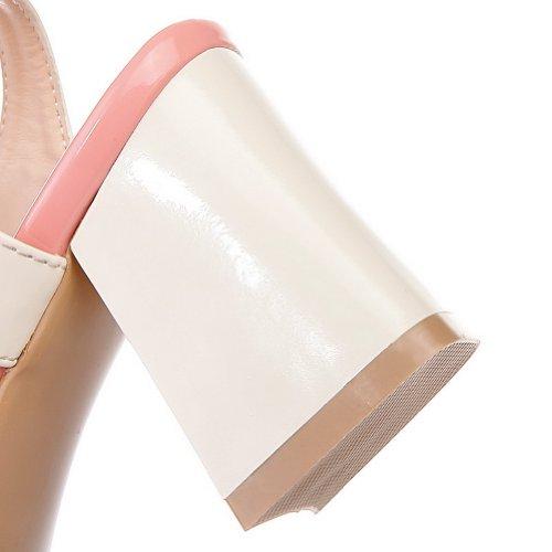 Metallinen Kantapää Sandaalit Naisten Värejä Avokärkinen Valikoituja Paksu Pu Voguezone009 Vaaleanpunainen Kantapäät Pentu wgFqxtxvR