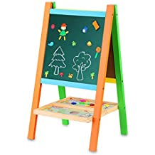 BATTOP Multifunctional Drawing Board Kids Easel With Magnetic Alphebet and Numbers Two-Sided Feature