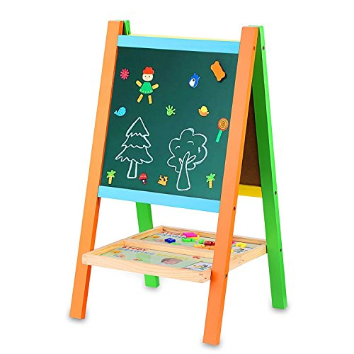BATTOP Multifunctional Drawing Board Kids Easel With Magnetic Alphebet and Numbers Two-Sided (3 Way Easel)