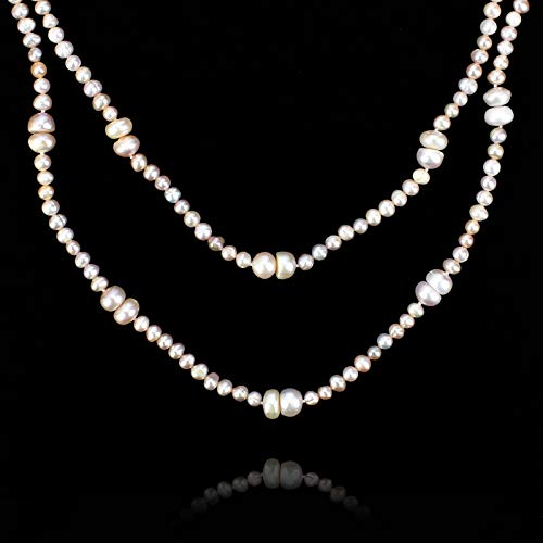 (POMINA❤️8mm Semi Precious Stone Beaded Long Necklaces, 60 inches (Champagne Pearl Strand))
