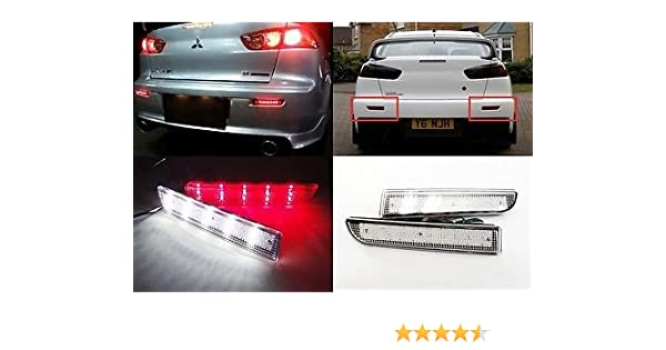 LEDIN Mitsubishi Lancer Evo X Red Lens Bumper Reflector LED Tail Brake Stop Light CZ4A