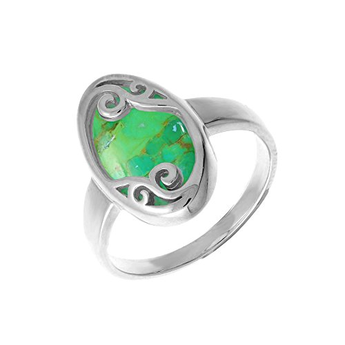 Boma Jewelry Sterling Silver Green Turquoise Filigree Ring, Size 8