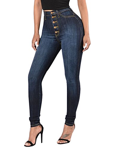 Cresay Women Sexy Elastic Butt Lift High Waisted Skinny Jeans Denim Pants-tag M by Cresay