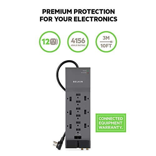 Belkin 12-Outlet Power Strip Surge Protector w/ Flat Plug, 10ft Cord - Ideal for Computers, Home Theater, Appliances, Office Equipment (4156 Joules)