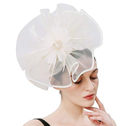 Sinamay Feather Fascinators Womens Pillbox Flower Derby Hat for Cocktail Ball Wedding Church Tea Party (Ivory-2) ()