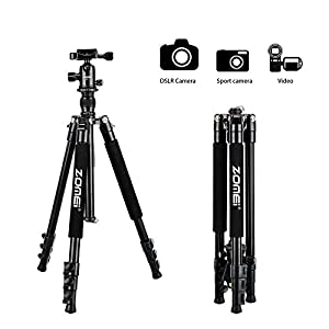 Zomei Q555 Travel Camera Tripod 62.5 Inch - Lightweight and Compact Aluminum Alloy Material for Outdoor Use - Great Smooth 360 Degree Ball Head as Panoramic Shooting-for Various Cameras Canon Nikon