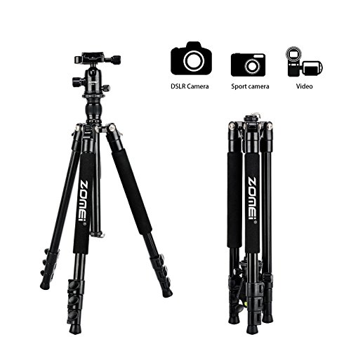 Zomei Q555 Travel Camera Tripod 62.5 Inch – Lightweight and Compact Aluminum Alloy Material for Outdoor Use – Great Smooth 360 Degree Ball Head as Panoramic Shooting-for Various Cameras Canon Nikon