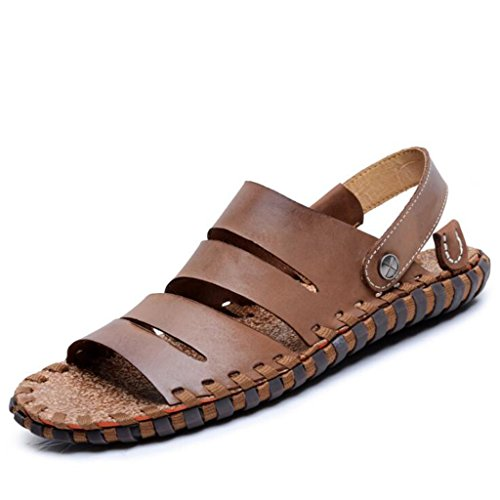 Sandali da Morbida Donna da estive Esterni Marrone Pelle Base Scuro per Calzature in Sandali Uomo Sdqgg