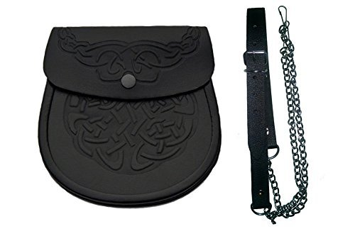 (Authentic Black Leather Scottish Kilt Sporran Pouch and Belt)