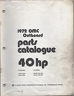 1972 Omc Evinrude Johnson Outboard 40 Hp Parts Manual Manufacturer