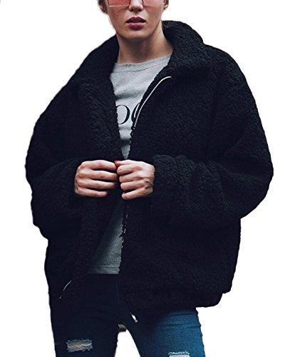 Di Shallgood Nero Peluche Giacca Caldo Stile Strada Inverno Cappotti Modo Corto Cerniera Elegante Capispalla Giacche Donna In 181BH