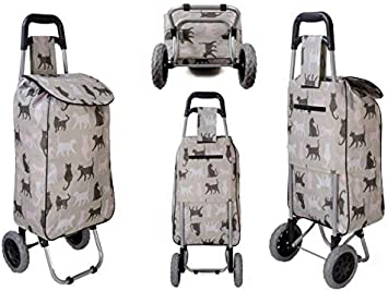 2 Wheel Shopping Trolley Floral Cat Dog Pattern Folding Mobility Grocery Basket Cat