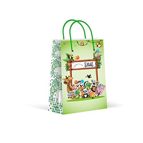 Colorful Zoo Animal - Premium Safari Party Bags, Animal Party Favor Bags, New, Zoo Treat Bags, Gift Bags, Goody Bags, Party Favors, Party Supplies, Decorations, 12 Pack