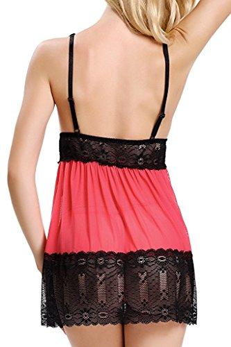 Vilania Lingerie Mujer Vestido Ropa de Dormir Encaje Babydoll Halter Chemise Camisón Ropa interior Pijama con G-String Rojo