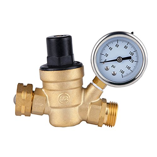 COCODE Water Pressure Regulator, RV Water Pressure Reducer with Guage, Brass Lead-Free Adjustable Manual Operation Pressure Regulating Valve DN20 1.6Mpa Includes Inlet Screened Filter for ()