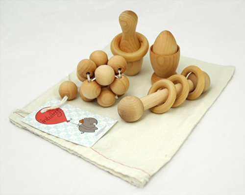 Intuitoys Montessori Inspired All Natural Wooden Baby Development and Discovery Set (Handmade in Usa)