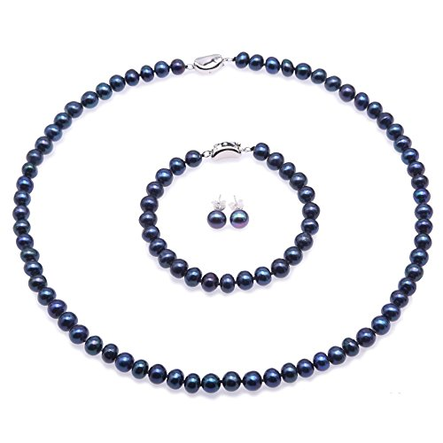 JYX Pearl Necklace 7-8mm Blue Freshwater Cultured Pearl Necklace Bracelet and Earrings Jewelry Set