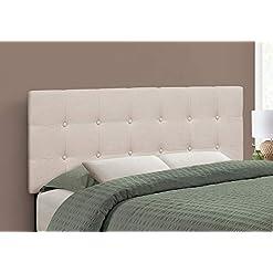 Bedroom Monarch Specialties Button Tufted Upholstered Modern Headboard Panel Height Adjustable, Full, Beige Linen-Look modern headboards