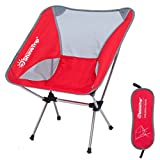 YOEDAF Foldable Outdoor Chair Camping Folding Stool Seat Lightweight Garden Chair Folding Fishing Chair - Heavy Duty 150kg Capacity,Compact,with Storage Bag(Red)