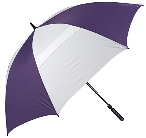 Haas-Jordan 8367T Wind-Vented Telescoping Golf Umbrella Purple/White