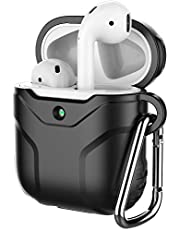 JETech Case for Apple AirPods (1st & 2nd Generation), Portable Silicone Protective Cover (Front LED Visible) with Carabiner, Black