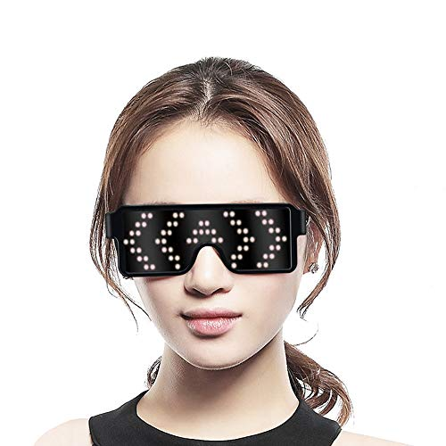 Fancy LED Light up Glasses, USB Rechargeable&Wireless with Flashing LED Display, can Work 6 Hours, Have 8 Dynamic Patterns, Glowing Luminous Glasses for Christmas,Party,Bars,Rave,Festival,etc.(White)