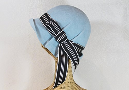 Pale Blue Ingrid 20s Style Pleated Cloche Hat in Velour Felt by Bonnet