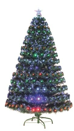 7' Artificial Holiday Fiber Optic Light Up Christmas Tree - Green