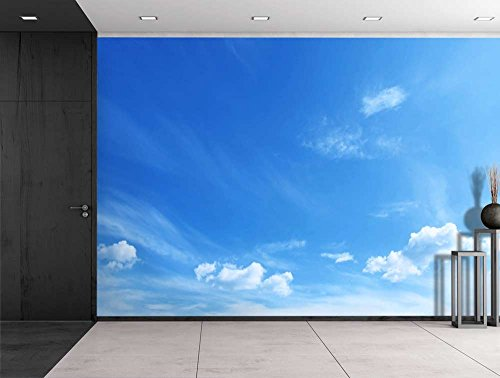 Large Wall Mural Clouds in Sunny Blue Sky Vinyl Wallpaper Removable Decorating