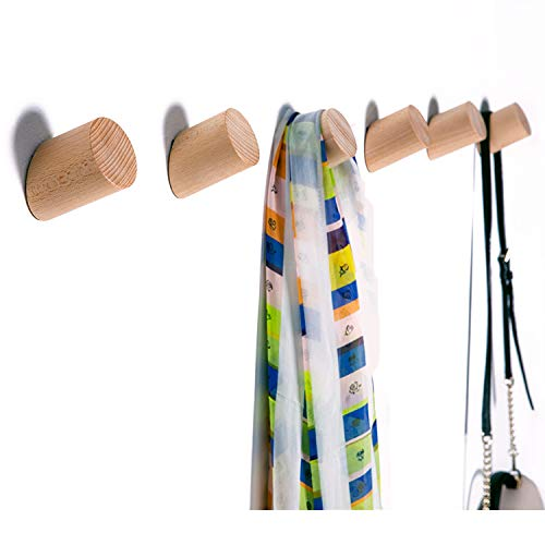 Wood Wall Hooks - Felidio Natural Wood Modern Coat Hooks Wall Mounted (Pack of 2pcs) - Rustic Towel Hanger Hat Racks Entryway Organizer Heavy Duty Door Hanging (Beech Wood)