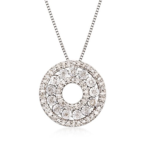 Ross-Simons 0.21 ct. t.w. Diamond Open Circle Pendant Necklace in Sterling Silver (Pendant Circle Open Silver)
