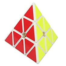 Willking Pyraminx Pyramid Speed Magic Triangle Cube Rubik's Twisty Puzzle for Kids Intelligence Development,White