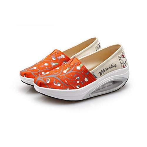 de Antiguos Zapatos del FH Size Gruesos de Versión Las Lona de Pekín de Orange EU36 Aire Mujeres UK4 Aumento Coreana Zapatos balancín Zapatos Zapatos Color Pedal de Perezosos de CN36 Un de 5Sddqn6gWr