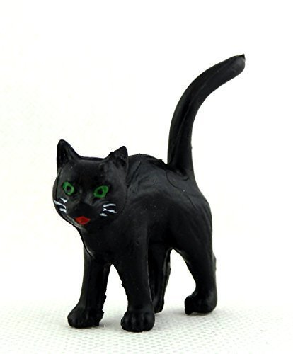 Halloween Accessories Cat (Melody Jane Dolls Houses House Miniature Animal Pet Halloween Accessory Black Cat Standing)