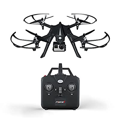 Force1 F100 GoPro-Compatible Quadcopter - Hero 3 or 4 Camera-Ready Drone w/ Brushless Motors for Long, Super-Quiet Flight (Camera not Included)