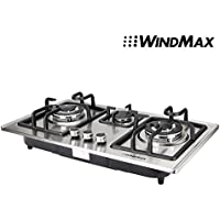 WindMax 28 Silver Stainless Steel 3 Burner Built-In Stove NG Gas Cooktop Kitchen Cooker 8350W