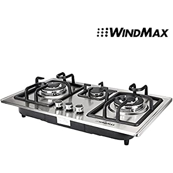 28 In Silver Stainless Steel 3 Burner Built In Stove NG Gas Cooktop Cooker  8350W