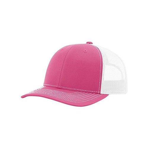 (Richardson Hot Pink/White 112 Mesh Back Trucker Cap Snapback Hat)