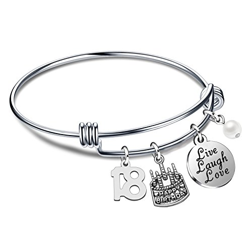 lauhonmin Birthday Gifts for Her Bangle Bracelets Live Laugh Love Charms for 13th 18th 21st 30th 40th 50th 60th (18th Birthday)