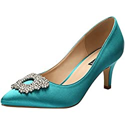 ERIJUNOR E1604 Women Pumps Low Heel Rhinestone Brooch Satin Evening Dress Wedding Shoes Teal 7