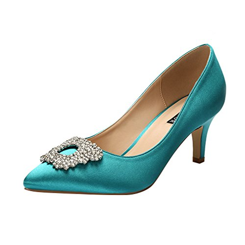 ERIJUNOR E1604 Women Pumps Low Heel Rhinestone Brooch Satin Evening Dress Wedding Shoes Teal 9