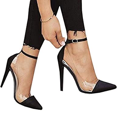 Womens Pointed Toe Pumps High Heels Transparent Ankle Buckle Strap Sexy Dress Shoes Black